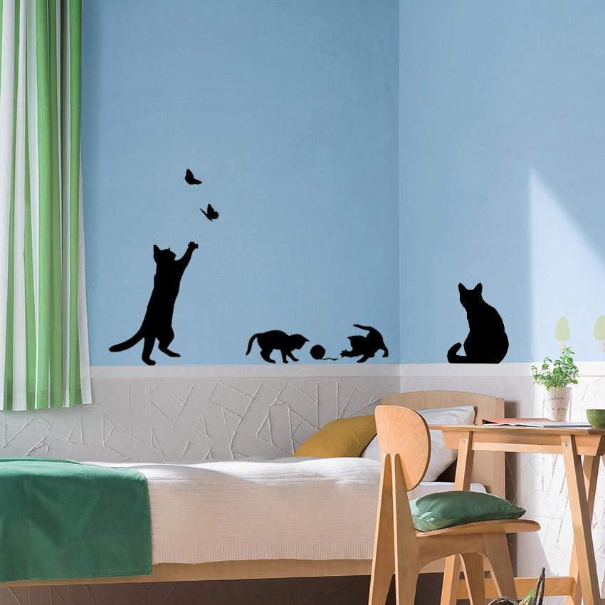 cats play with butterflies wall sticker